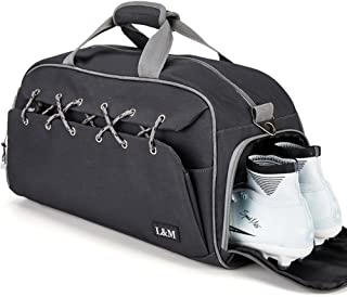 Sport Gym Duffel Bag with Shoes Compartment Lightweight Travel Overnight Bag for Men and Women (Black)