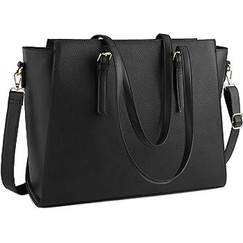 Laptop Bag for Women 15.6 Inch Waterproof Laptop Tote Bag Large Leather Computer Briefcase Womens Business Professional Office Work Bag Lightweight Shoulder Handbag,Black