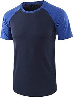 DESPLATO Mens Casual Basic Vintage Active Short Raglan Sleeve Crew Neck T Shirt