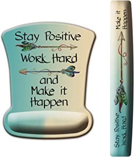 ITNRSIIET Upgraded Ergonomic Keyboard Wrist Rest and Mouse Wrist Rest Pad Set, Stay Positive Work Hard and Make It Happen Arrow Print Inspirational Quote. Easy Typing and Wrist Pain Relief
