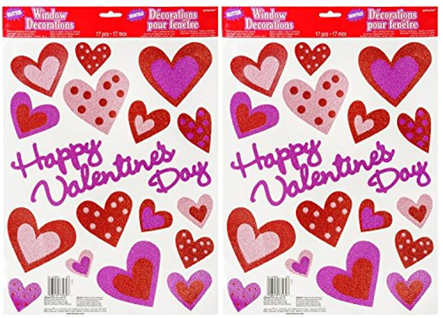 Happy Valentines Day Glitter Hearts Window Sticker Decorations (Pack of 2)