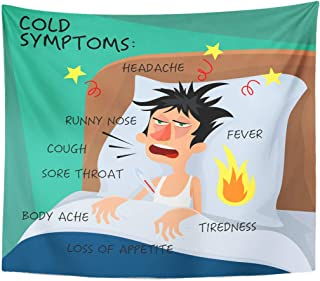Emvency Tapestry Cold Symptoms in Flat with Man Who Feel Feverish Chills Cough Sore Throat Cartoon Character Influenza Flu Home Decor Wall Hanging for Living Room Bedroom Dorm 60x80 Inches