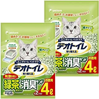 1週間消臭・抗菌デオトイレ 取り替え品 飛び散らない緑茶成分入り消臭サンド 4L × 2袋