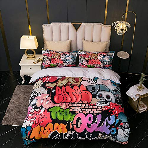 AHKGGM Duvet cover set Single Hip hop graffiti Bedding 3 pcs Microfiber duvet cover 55x79 inch with zipper closure And 2 pillowcases 20x30 inch -for adults and children's bedrooms