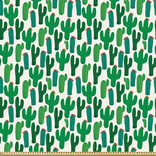 ABAKUHAUS Exotisch Stoff als Meterware, San Pedro Kaktus mit Blumen, Microfaser Stoff für Kunsthandwerke und Dekoration, 5M (230x500cm), Rot