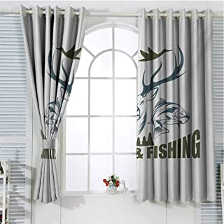 Hunting Patio Door Curtains for Bedroom Artistic Animals Emblem Moose Head Horns Trout Salmon Sea Fishes Thermal Insulated Noise Reducing W107 x L84 Inch Olive Green Slate Blue White