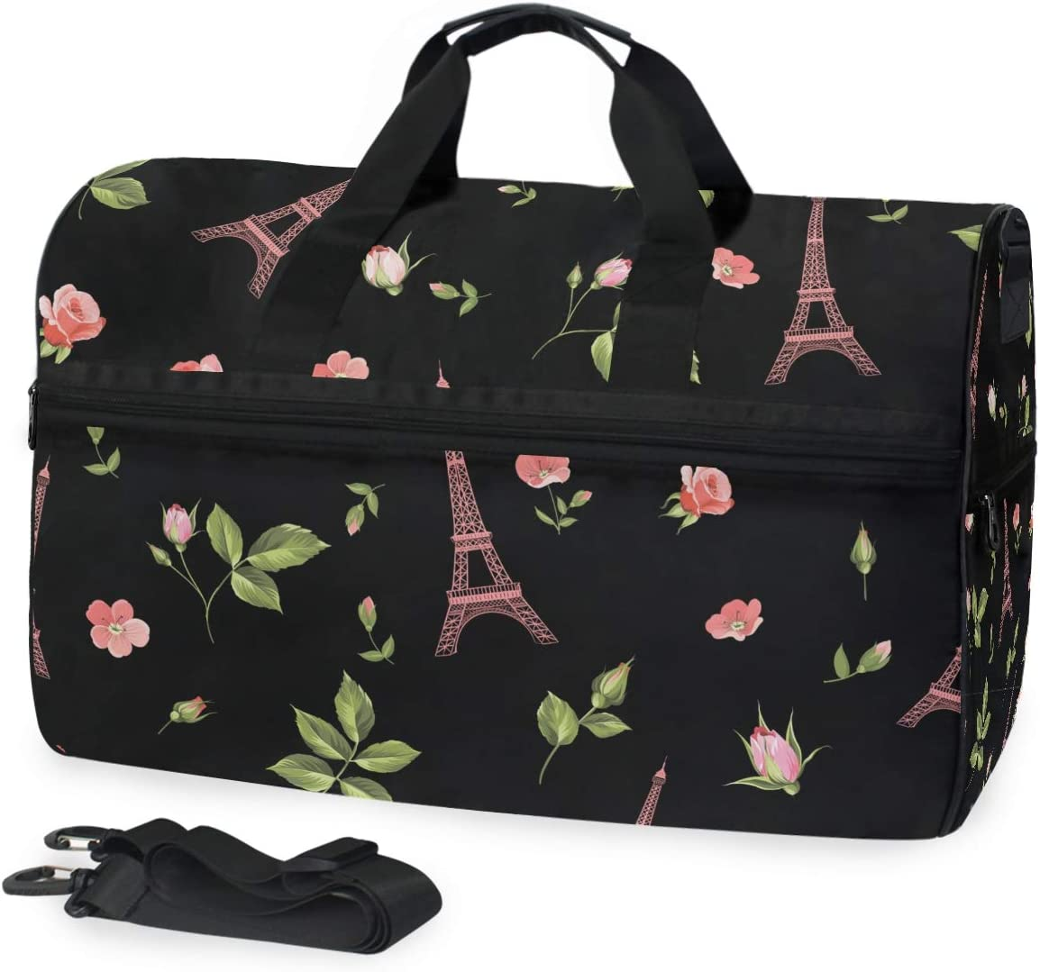 Sports Swim Gym Bag with Shoes Paris Tower Black Gifts quality assurance Compartmen Rose