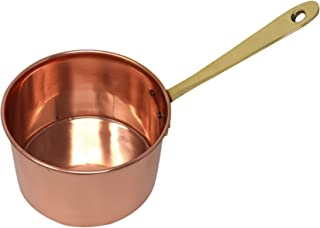 ShalinIndia Indian Copper Saucepan With Handle Traditional Cookware Kitchen Utensil And Accessories For Home Capacity 900 Ml