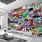 Msrahves Papel tapiz estéreo 3D Ciudad colorido paredes graffiti 200X200CM Decorativos Murales Moderna Papel Pintado 3D Fotomural 3D Murales Papel Tapiz Pared de Fondo de TV Wallpaper