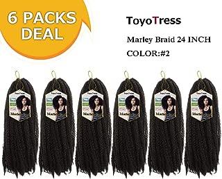 Toyo Tress Marley Hair For Twists 24 Inch 6packs Long Afro Marley Braid Hair 100% Kanekalon Synthetic Fiber Marley Braiding Hair Extensions (24