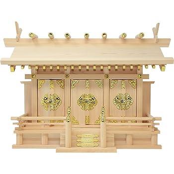 松山神仏具店 神棚 通し屋根三社 雲シール付 日本製 国産桧 幅54cm 高37cm 奥18cm