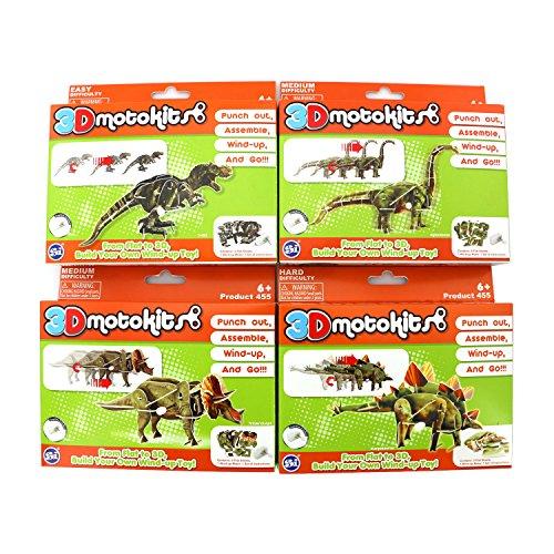 Super Impulse 3D Motokits Punch Out, Assemble, Windup, GO! Toy (Dinosaur Series) Triceratops, Stegosaurus, Diplodocus, T-Rex
