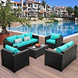 5-Piece Patio Wicker Furniture Set Outdoor Conversation Cushioned Seat Couch Chair Sofa PE Rattan Set-Turquoise Cushion with Storage Table and Furniture Covers, Black PE Rattan