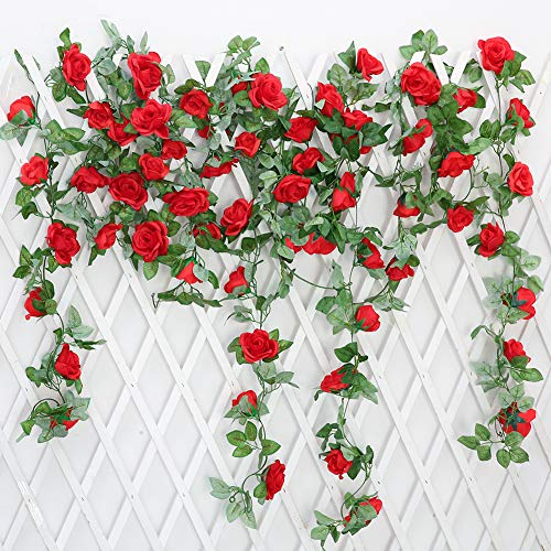 JUSTOYOU 2 Pack 7.2ft Artificial Fake Rose Garland Vines Hanging Silk Flowers for Outdoor Indoor Wedding Wall Badroom Decoration (Red)