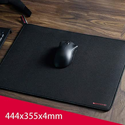Alfombrilla para ratón Exco Gaming Tamaño grande (444 × 355 × 4 mm), Alfombrilla para ratón con tapete extendido , Base de goma antideslizante, Superficie texturizada lisa especial, Bordes de costura duraderos, Soporte de computadora, PC y computadoras portátiles - Negro