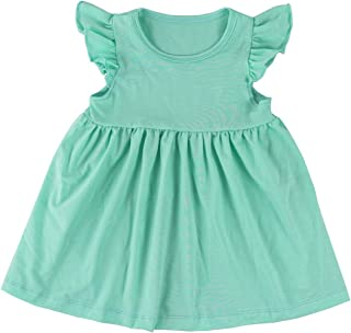 Wennikids Baby Girls' Cotton Flutter Sleeve Dress