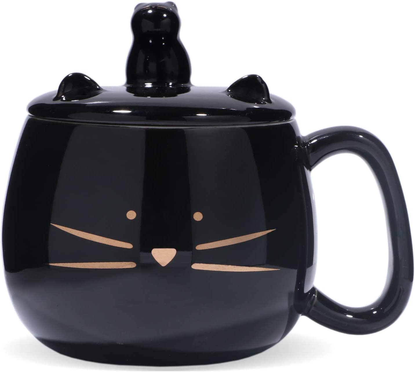 Koolkatkoo Cute Cat Coffee Mug with Cell Phone Holder Lid for Cat Lover Unique Ceramic Tea Mugs with Gold Cat Porcelain Cup Gift for Women Black