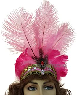 MasqStudio Show Girl Carnival Festival Masquerade Party Headpiece Ostrich Feather Headband Headdress (Pink)