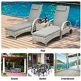 Sonnenliege Gartenliege Tisch 3er-Set Gartenmöbel Polyrattan Metall Grau - 7