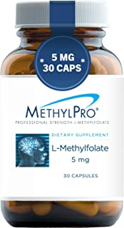 MethylPro 5mg L-Methylfolate (30 Capsules) - Professional Strength Active Methyl Folate, 5-MTHF Supplement for Mood, Homocysteine Methylation + Immune Support, Non-GMO + Gluten-Free with No Fillers