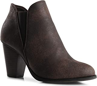 LUSTHAVE Women's Chunky Heel Ankle Bootie - Comfort Stretchy Bock Heel Boots