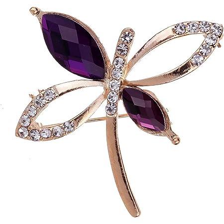 YAZILIND joyería Plateado Hueco Talle Brillante Cristal broches de la libélula y Pines para Mujeres