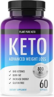 Keto Pills - Plant Pure Keto - Ketogenic Fat Burner for Advanced Weight Loss Support - Burn Fat for Fuel Instead of Carbs - Ketosis Supplement with Nootropic Benefits - 60 Capsules