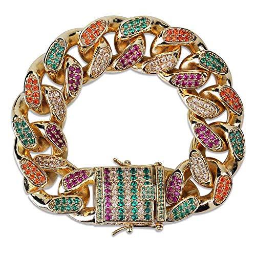 LC8 Jewelry Pulsera de lujo para hombre, 14 mm, 18 mm de ancho, estilo hip hop, con diamantes brillantes coloridos y circonitas cúbicas, chapada en oro de 14 quilates