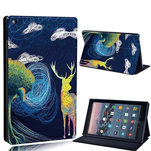 FINDING CASE For Amazon re HD 10 (5th 7th 9th Gen) Tablet - Printed PU Flip Leather Smart Lightweight Shell Stand Cover Case for re HD 10 (5th 7th 9th Gen) (deer by the tree paint)