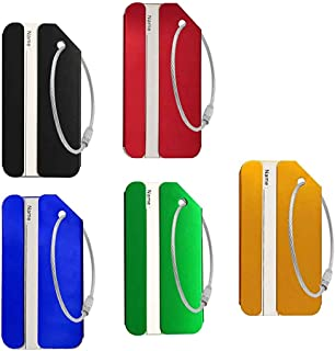 Five Privacy Luggage Tags Aluminum Alloy Metal ID Bag Tag for Travel Luggage Baggage Identifier