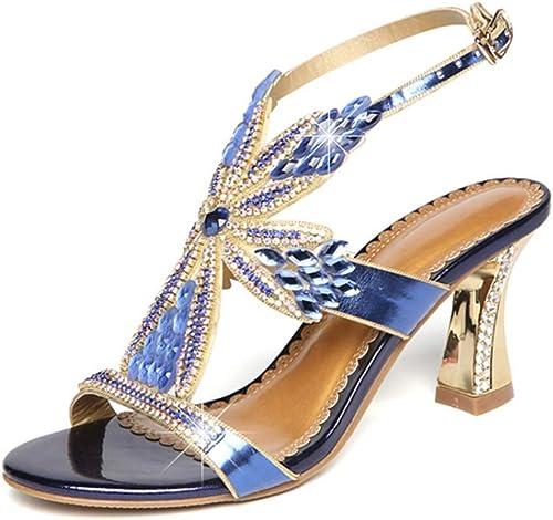 Selling Damen Diamant Sandalen, Flash Sommer Sandalen, High Heel Heel Heel Sandalen, Sommer Strass Sexy Mode,Blau,38  fabrik direktverkauf