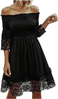 Creazrise Women Off Shoulder Stripe Long Sleeve Dress Flare Sleeve Above Knee Mini Dress Bohemian Slash Neck Sundress