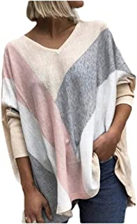 Coolred Womens V-Neck Blouse Long Sleeve Lounge Fall Winter Contrast Tees