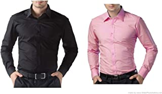 ZAKOD Combo of Plain Cotton Slim Fit Shirts for Men's Wear,Casual Wear Shirts,Available Sizes M=38,L=40,XL=42,100% Pure Cotton Shirts(Combo of 2)