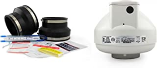 Healthy Air Solutions RadonAway RP145 Fan + Install Kit (Rubber couplings, Dynameter and Labels) (3x4, Black)