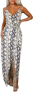 Yetou Womens Dress Sleeveless Vintage Printed Bohemian Flowy V Neck Backless Beach Maxi Dresses
