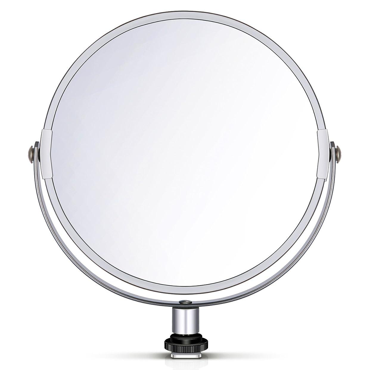 人工的なペンス実質的Neewer 両面鏡 拡大鏡 化粧鏡 8 in/20 cm 円形 18 inのリングライト 自撮り 化粧 ポートレート用アダプタ付