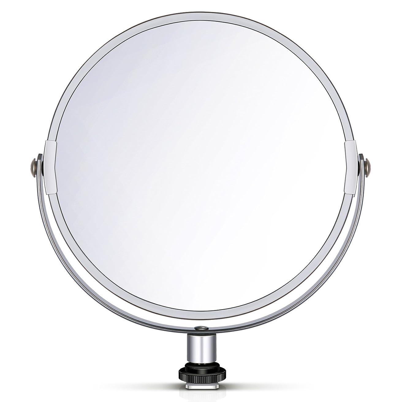 過半数条約勇者Neewer 両面鏡 拡大鏡 化粧鏡 8 in/20 cm 円形 18 inのリングライト 自撮り 化粧 ポートレート用アダプタ付
