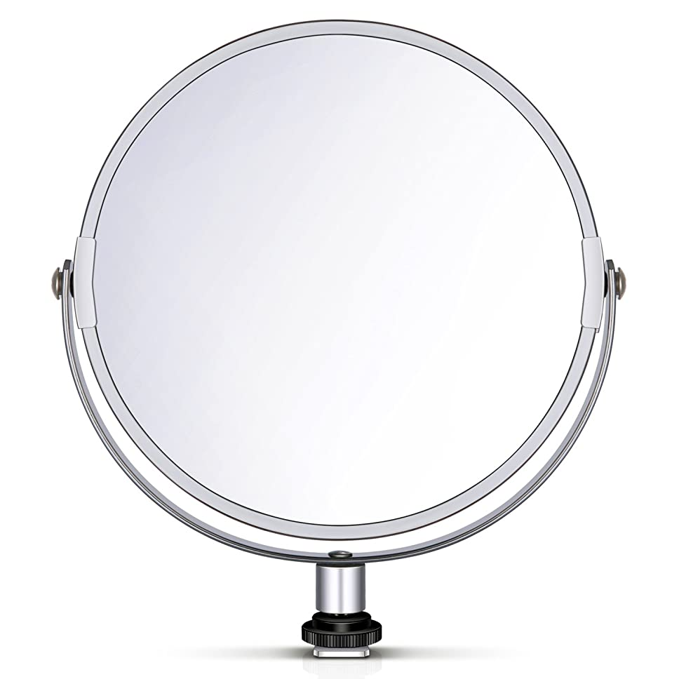 協力情緒的現実にはNeewer 両面鏡 拡大鏡 化粧鏡 8 in/20 cm 円形 18 inのリングライト 自撮り 化粧 ポートレート用アダプタ付