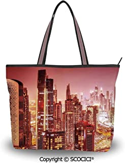 SCOCICI Tote Bag Oversized Shoulder Handbag Purse Country,Pine Trees in the For