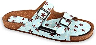 Colour Me Mad Light Blue Flowers Printed Soft and Mushy Floral Finish to Soothe Your Nerves, Natural Cork, Washable, All Weather, Vegan, Made in India, PETA Certified, Women Sandals (Slider)