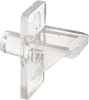 Slide-Co 243409 Plastic Shelf Support Pegs, Clear (12pk) – 5mm Outside Diameter - Easily Replace Missing or Broken Shelf Supports – Serrated Stems for Stronger Grip - Easy to Install