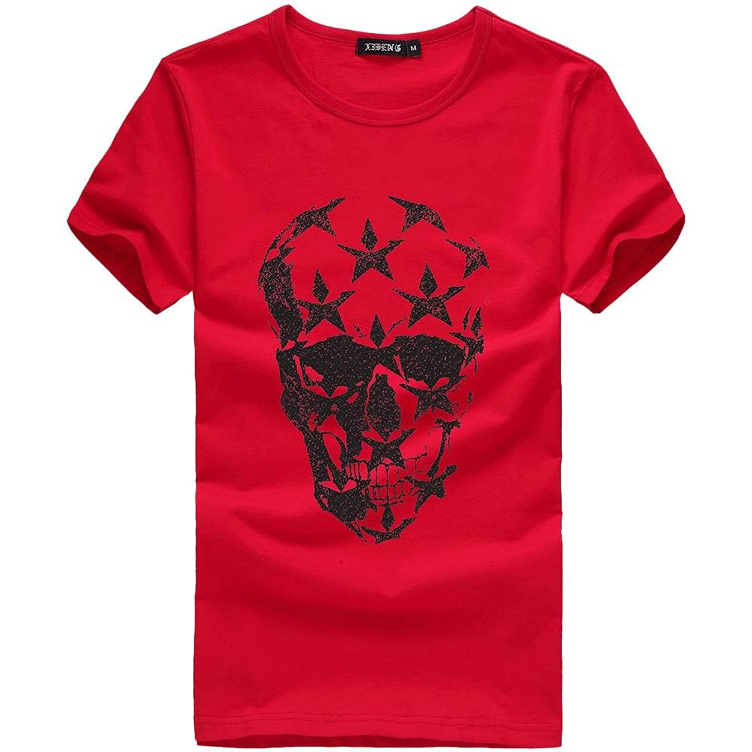 WM & MW Funny Graphic T-Shirt for Boy Men's Short Sleeve O-Neck Skull Print Tee Shirt Sport Casual Pullover Tops