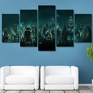 sasdasld Canvas Pictures Home Decor HD Print 5 Panel Bioshock Night View Painting Modular Abstract Game Poster Wall Art Framework-20CMx35/45/55CM