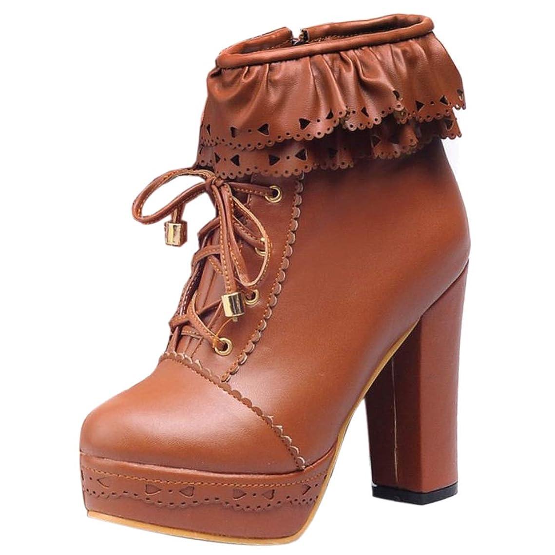 爪必要とするまだ[FANIMILA] レディース 可愛い ショートブーツ ハイヒール 編み上げブーツ お嬢様風 美脚 ロリータ靴