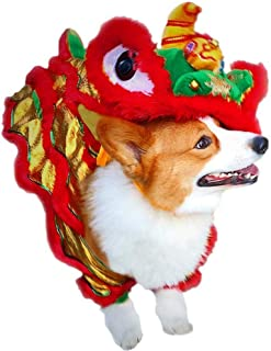PanDaDa Dog Costume Lion Dance Dragon dancec Clothing,Festive Costume,Chinese New Yea Costume, Pet Makeover Funny Clothes Red Lucky Cosplay Costume