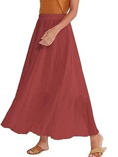 Women Swing Skirt Mid Length Cotton Linen Flowing Skirt Elastic Waist Boho Style for Autumn Summer