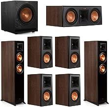 Klipsch 7.1 Walnut System 2 RP-5000F Floorstanding Speakers, 1 Klipsch RP-500C Center Speaker, 4 Klipsch RP-500M Surround Speakers, 1 Klipsch SPL-100 Subwoofer
