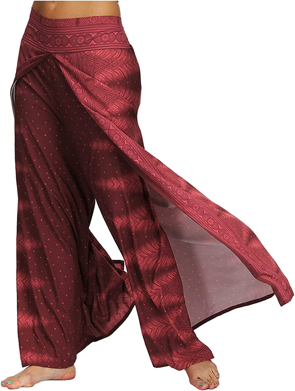 MIVAMIYA Women's Comfy Boho Pants Harem Smocked Waist Palazzo Loose Yoga Pants Hippie Pajama Elephant Lounge Pants