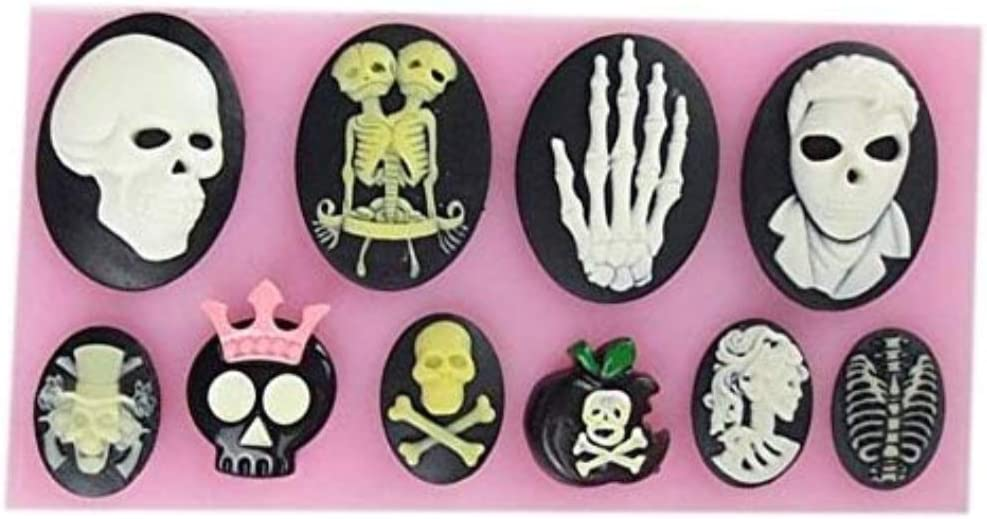 Halloween Skull Skeleton Fondant Silicone Mold Chocolate Mould Baking Cake Cupcake Pastry Gumpaste Kitchen Cooking Cookie Crafting Decor Tool